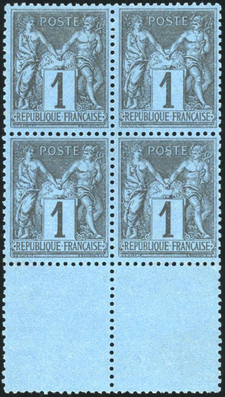 Le plus beau bloc de quatre connu du 1 c. bleu de Prusse au type« Sage», 160000 euros minimum.