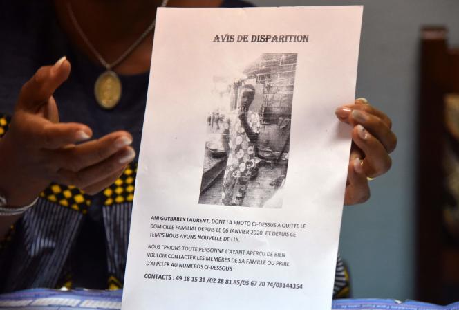 Un avis de disparition de l'écolier ivoirien Laurent-Barthélémy Ani Guibahi, à Abidjan le 10 janvier 2020.