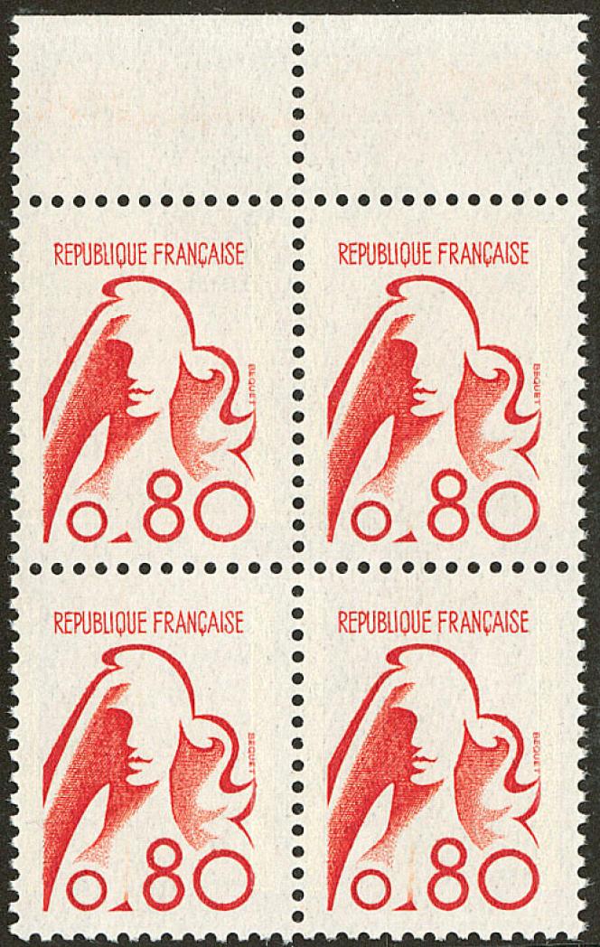Projet de «Marianne» non émis, bloc de quatre, de 1975 : minimum 2 200 euros.