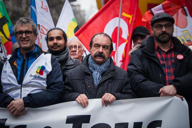 Philippe Martinez, au départ de la manifestation, place de la République, à Paris, jeudi 9 janvier 2020.