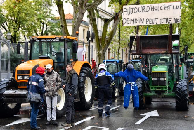 Lors d'une manifestation à l'appel de la FNSEA et des Jeunes agriculteurs, à Nimes, le 22octobre 2019.