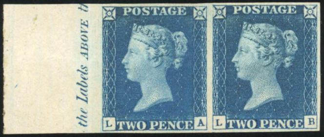 Paire neuve du 2 pence bleu de 1840 à l'effigie de la reine Victoria. Mise à prix: 230000 euros.