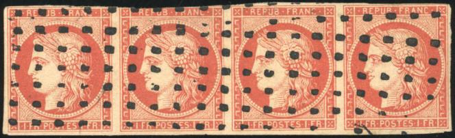 Bande de quatre du 1 franc vermillon: 130 000 euros.