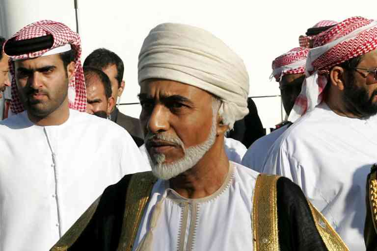 (FILES) In this file photo taken on November 3, 2004, Oman's late ultan Qaboos attends the funeral of Emirati president Sheikh Zayed bin Sultan al-Nahayan in Abu Dhabi. Sultan Qaboos, who ruled Oman for almost half a century, has died at the age of 79, the Omani news agency said January 11, 2020. Qaboos, the longest ruling Arab monarch, had been ill for some time and had been believed to be suffering from colon cancer. / AFP / Rabih MOGHRABI