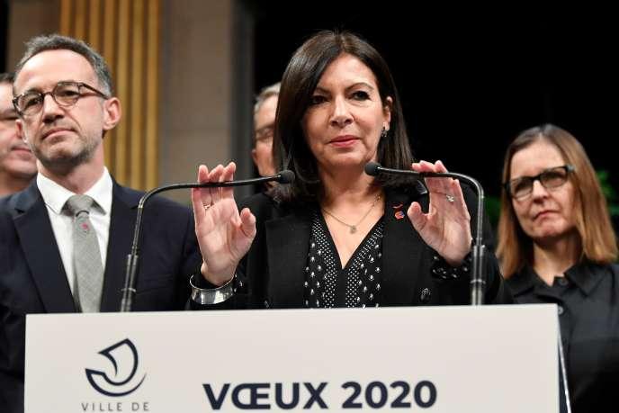 Anne Hidalgo lors de ses vœux, à Paris, le 10 janvier.