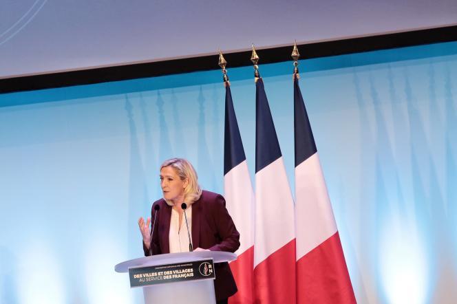 Marine Le Pen, lors de la convention du Rassemblement national, le 12 janvier à Paris.