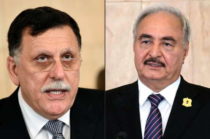 Les deux hommes forts de la Libye : Faïez Al-Sarraj (à gauche) et le maréchal Khalifa Haftar (à droite).