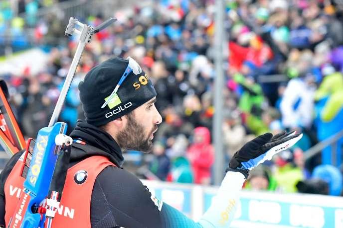 Martin Fourcade après sa victoire lors de la mass start d'Oberhof, le 12 janvier 2020.