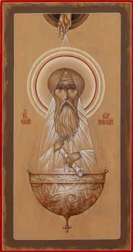 """«Serge de Radonège est considéré comme l'un des plus grands saints de Moscovie au XIVesiècle. Une nuit, alors que saint Serge chantait l'Acathiste à la Mère de Dieu et lui adressait de ferventes prières pour le monastère devant son icône, il s'interrompit un instant pour dire à son disciple Michée: """"Sois vigilant, mon enfant, car nous allons recevoir une visite miraculeuse!""""A peine avait-il prononcé ces paroles qu'il entendit une voix et il se précipita à l'entrée de sa cellule – soudain, une lumière inhabituelle l'entoura, plus éclatante encore que le soleil. Il vit la Sainte Mère de Dieu, accompagnée des apôtres Pierre et Jean, rayonnante.»"""
