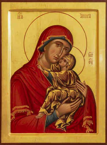 """«Sainte Anne est l'épouse de saint Joachim, mère de la sainte Vierge Marie, aïeule de Jésus le rédempteur. La Bible ne nous apprend rien sur les parents de la Vierge Marie. Le plus ancien document qui en parle est le """"Protévangile de Jacques"""" attribué à saint Jacques le Mineur. Selon la tradition, le couple de Joachim et Anne est stérile. Anne promet de consacrer au Seigneur l'enfant qui naîtrait d'elle. Conformément aux vœux, Anne et Joachim amènent Marie au Temple. Elle est âgée de trois ans – c'est à cette période que commencera son éducation.»"""