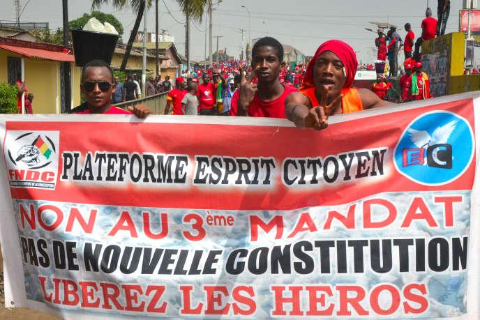 Manifestation à Conakry contre un éventuel troisième mandat du président guinéen Alpha Condé, le 6 janvier 2020.