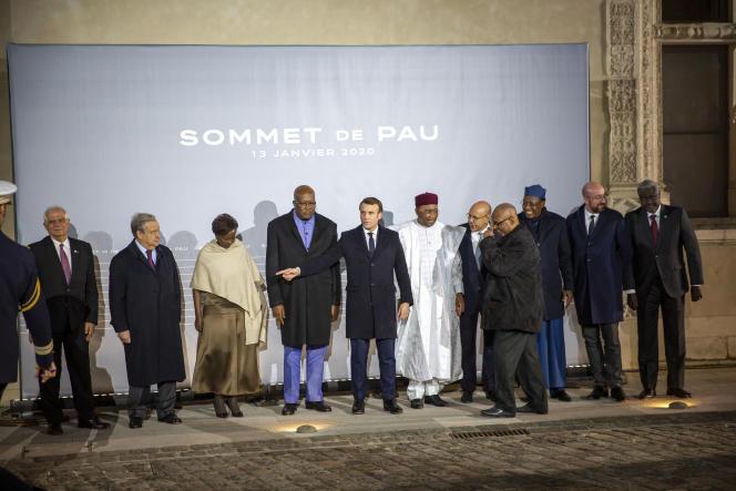 Emmanuel Macron et ses homologues du G5 Sahel (Mauritanie, Mali, Niger, Burkina Faso, Tchad), à Pau (Pyrénées-Atlantiques), le 13 janvier.