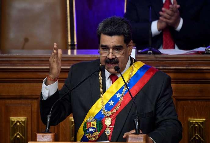 Le président du Venezuela, Nicolas Maduro, à l'Assemblée constituante à Caracas, le 14 janvier.