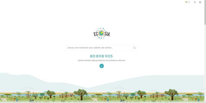 La page d'accueil d'Ecosia affiche un compteur des arbres dont il a financé la plantation.