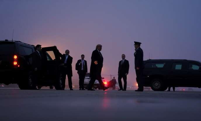Donald Trump quittant la base d'Andrews (Maryland), le 14 janvier.
