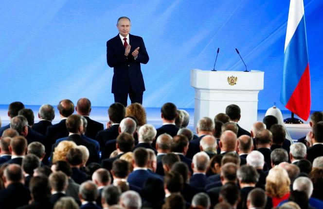 Vladimir Poutine lors de son allocution annuelle devant les membres du Parlement et les élites politiques, mercredi 15janvier, à Moscou.