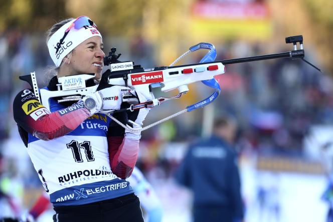 Tiril Eckhoff lors de la Coupe du monde de biathlon à Ruhpolding, en Allemagne, le 15 janvier.