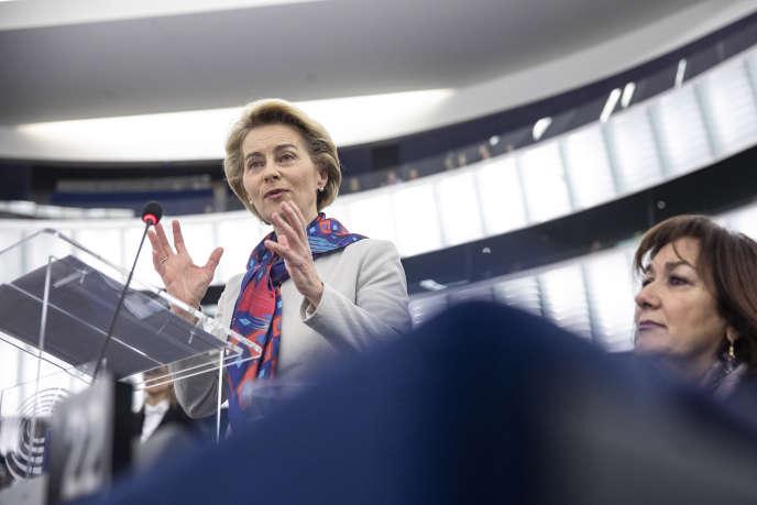 Ursula von der Leyen au Parlement européen de Strasbourg, le 14 janvier.