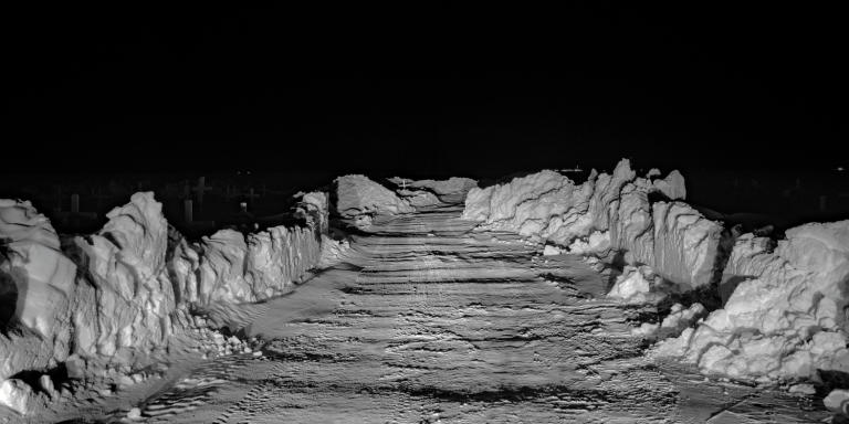 The road into the cemetery, South of Utqiagvik, 8:16 PM.