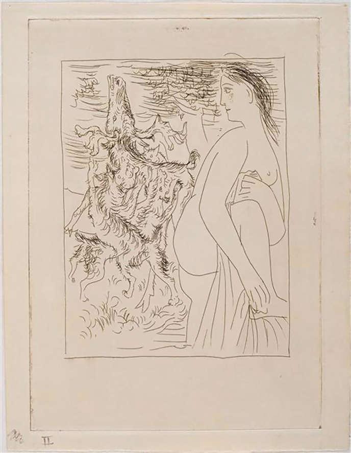 «Diane et Actéon transformé en cerf» de Picasso, eau-forte sur cuivre biseauté épreuve sur papier vélin, 1930.