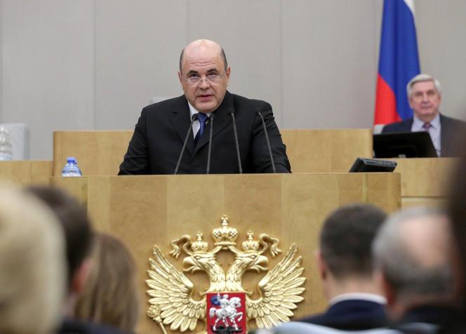 Mikhaïl Michoustine lors du discours qui a suivi sa nomination comme premier ministre de Russie, le 16 janvier à Moscou.