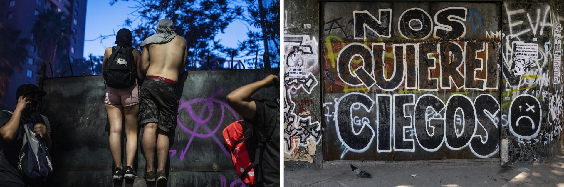 Sur ce graffiti, on peut lire : « Ils veulent que nous soyons aveugles.»