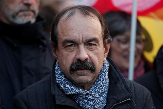 Le secrétaire général de la CGT, Philippe Martinez, le 16 janvier 2020, dans une manifestation contre la réforme des retraites à Paris.