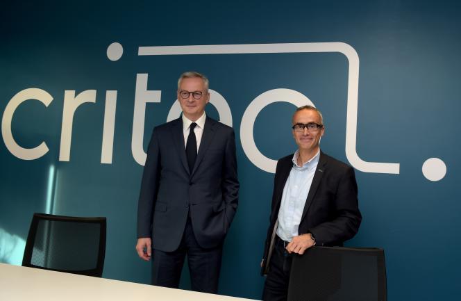 Le ministre français de l'économie et des finances, Bruno Le Maire (à gauche), et le cofondateur de Criteo, Jean-Baptiste Rudelle, à Paris, en octobre 2019.