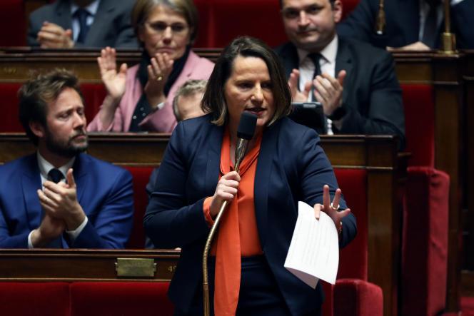 Valérie Rabault, présidente du groupe socialiste à l'Assemblée nationale, lors des questions au gouvernement au Palais-Bourbon, le 13 mars 2019.