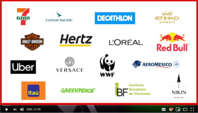 Ce visuel réalisé par Avaaz compile les logos de plusieurs grandes marques et ONG dont les publicités sont apparues sur des vidéos climatosceptiques.
