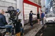 Sur le tournage du film« Le Redoutable», de Michel Hazanavicius, avec Louis Garrel et Stacy Martin, le 18 août 2016, à Paris.
