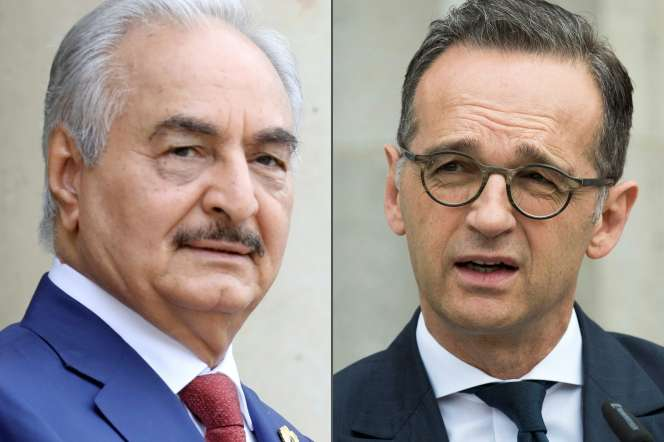 Le maréchal libyen Khalifa Haftar et le ministre allemand des affaires étrangères, Heiko Maas.