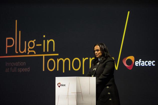 Isabel dos Santos, lors de l'inauguration à Maia (Portugal), en février 2018, d'une unité de production électrique du groupe portugais Efacec, dont elle est actionnaire.
