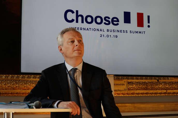 Le ministre français de l'économie et des finances, Bruno Le Maire, avant l'ouverture de la deuxième édition du sommet « Choose France », à Versailles (Yvelines), le 21 janvier 2019.