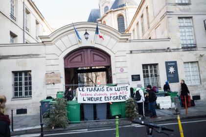 Blocage du lycée Charlemagne, à Paris, le 16 janvier.
