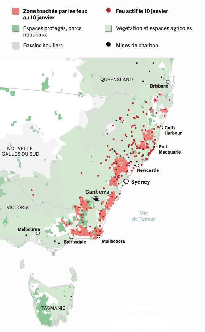 Carte des incendies en Australie, au 10 janvier.