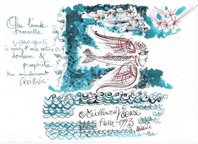 Voeux 1993 signés René Quillivic (photocopie et aquarelle).