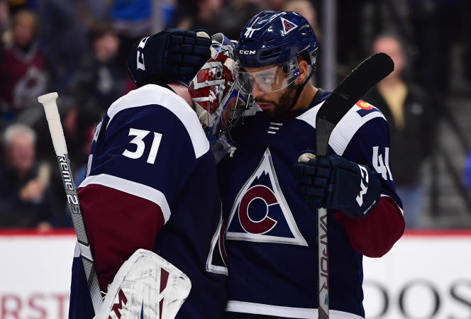 French player Pierre-Edouard Bellemare (right, in January 2020 in Denver) is entering his seventh NHL season, his second with the Colorado Avalanche after playing for Philadelphia and then Las Vegas.