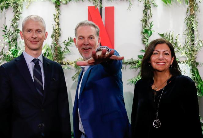 Franck Riester, Reed Hastings et Anne Hidalgo, à l'inauguration des bureaux parisiens de la firme, le 17 janvier.