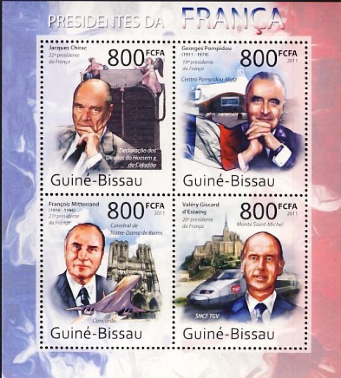 Présidents de la République française, timbres de Guinée (2011). La France a prévu d'éditer un timbre à la mémoire de Jacques Chirac à l'occasion du premier anniversaire de sa disparition.