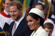 Harry et Meghan, alors duc et duchesse de Sussex, le 11 mars 2019 à Londres.