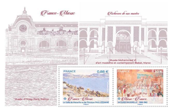 Bloc France-Maroc créé par Elsa Catelin, d'après Paul Cézanne (« Le Golfe de Marseille vu de l'Estaque ») Jacques Majorelle. Fond du bloc illustré par le Musée d'Orsay à Paris et le Musée Mohammed VI d'art moderne et contemporain à Rabat..