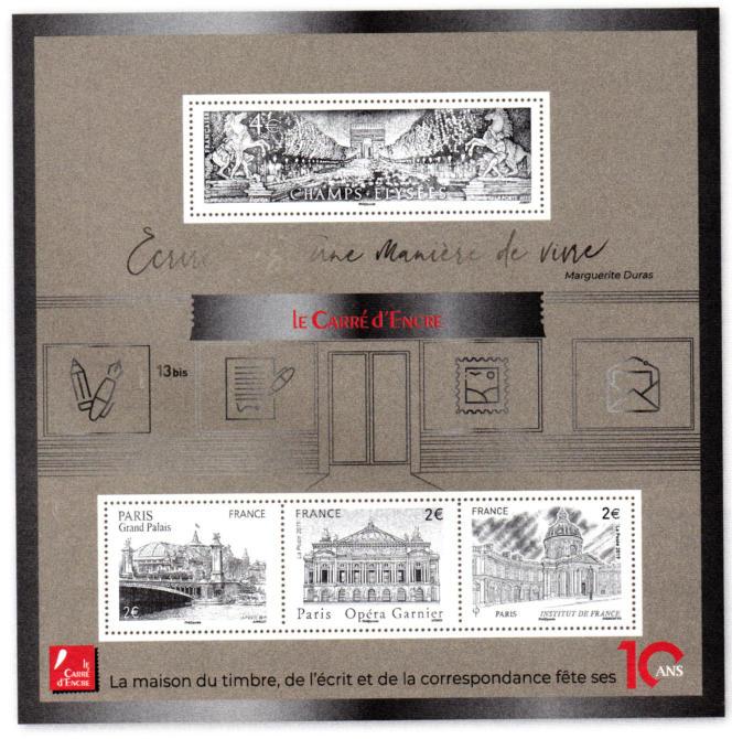 Bloc « argenté » pour le 10e anniversaire du Carré d'Encre. Timbres «Institut de France» (2014) par Claude Andréotto, «Opéra Garnier» (2006) par Martin Mörck, «Grand Palais» (2008) par Claude Jumelet) et «Avenue des Champs-Elysées» (1995) par Jacques Jubert.