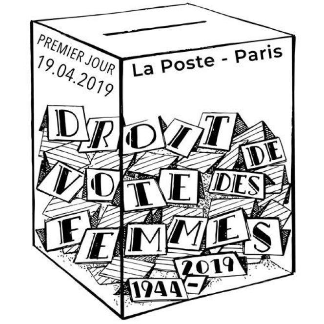 Tmbre à date grand format illustré dessiné parSarah Bougault pour le timbre sur le 75e anniversaire du droit de vote des femmes.