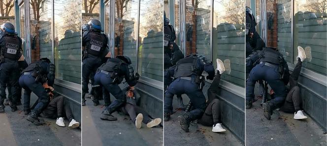 Capture d'écran d'une vidéo montrant un homme interpellé par un policier et frappé au sol à Paris, le 18janvier.