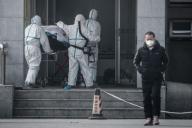 Une personne est conduite à l'hôpital de Wuhan où des patients atteints d'une pneumonie inconnue sont traités, le 18 janvier.