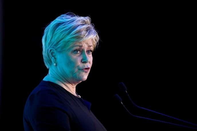 La ministre des finances norvégienne, Siv Jensen, à Paris, le 14 janvier 2020.