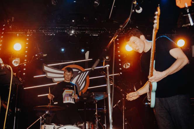 Le groupe Squid en concert au Vera lors de la 34e édition d'Eurosonic, à Groningue (PaysBas), le 18 janvier 2020.