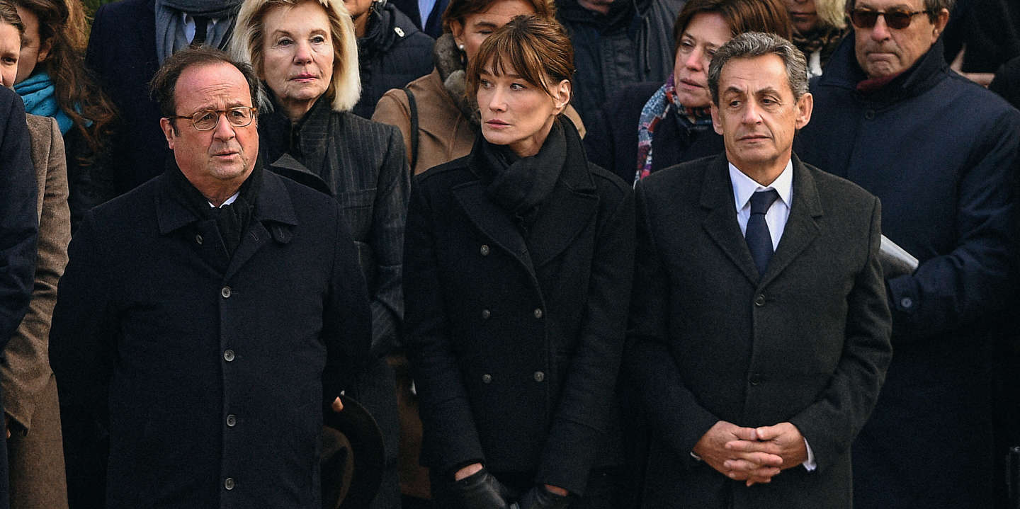 Francois Hollande and Nicolas Sarkozy seen when French President Emmanuel Macron was presiding a Ceremony in memory of Arnaud Beltrame in Hotel des Invalides, Paris, France on March 28th, 2018. Photo by Henri Szwarc/ABACAPRESS.COM  Recueillement Hommage Meditation    631021_003 Paris France