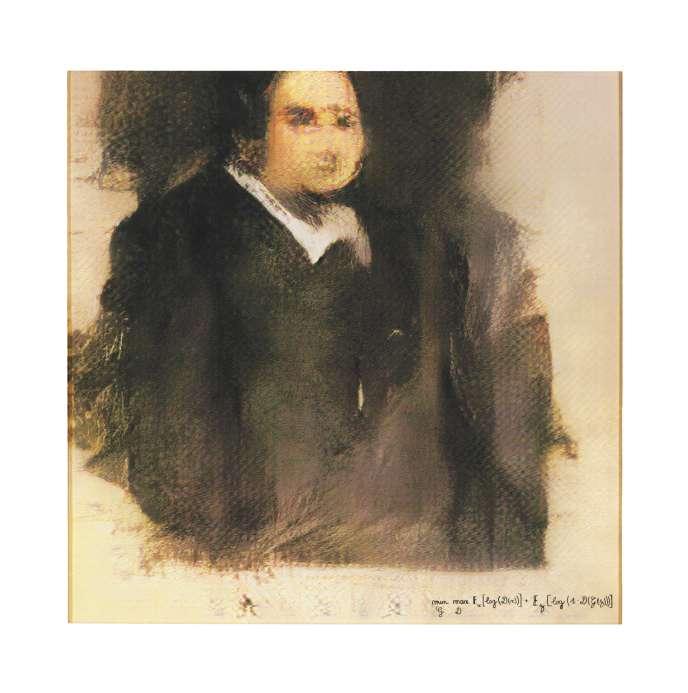 « Portrait d'Edmond de Belamy », produit par intelligence artificielle (impression sur toile, 70 x 70 cm) adjugé pour près de 390 000 euros, à New York, en 2018.